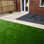 Composite deck area, artificial turf & honed sandstone 1.