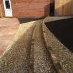 Sandstone paving, decorative aggregate, large bedding areas, sweeping curves 1.