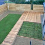Ceder deck, garden pod with sedum green roof, Larch bespoke fence, natural turf & wild flower turf areas.