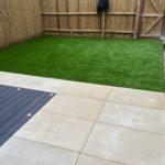 Composite deck area, artificial turf & honed sandstone 3.