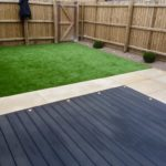 Composite deck area, artificial turf & honed sandstone 2.
